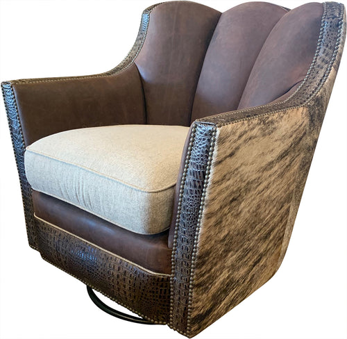 Davenport Ranch Western Contemporary Swivel Glider