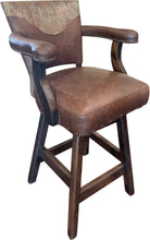Load image into Gallery viewer, Davenport Ranch Western Leather Barstool