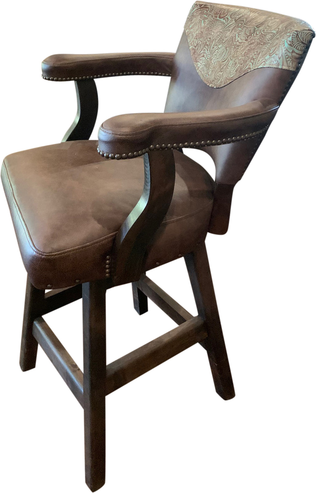 Davenport Ranch Western Leather Barstool