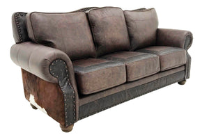 Split Rail 8 Foot 3 Cushion Western Cowhide Sofa
