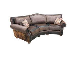 Split Rail Curved Western Cowhide Sofa