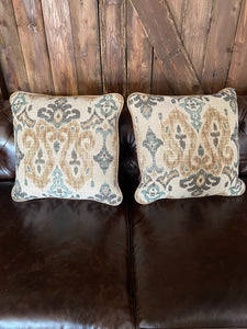 Leather & Fabric Pillow Pair #12 & 13