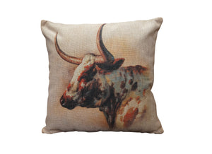 Longhorn Head Vintage Look Burlap Pillow