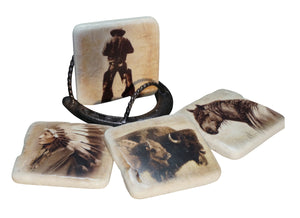 Sepia Ceramic Coaster Set of 4 Vintage Western Images