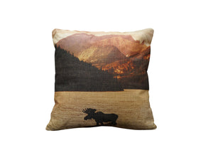 Moose in Lake Vintage Look Burlap Pillow
