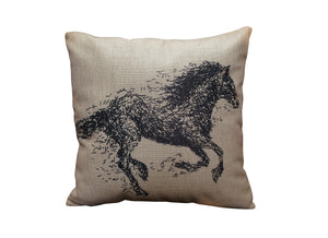 Horse Sketch Vintage Look Burlap Pillow