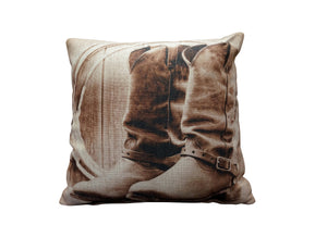 Dusty Boots Vintage Look Burlap Pillow