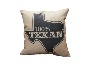 100% Texan Vintage Look Burlap Pillow