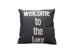 Welcome to the Lake Vintage Look Burlap Pillow