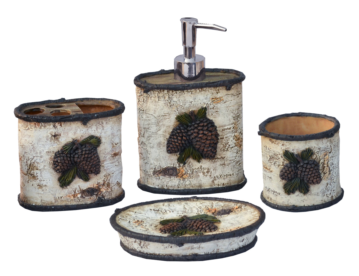 Birch Pinecone 4 PCS Bath Accessory Set