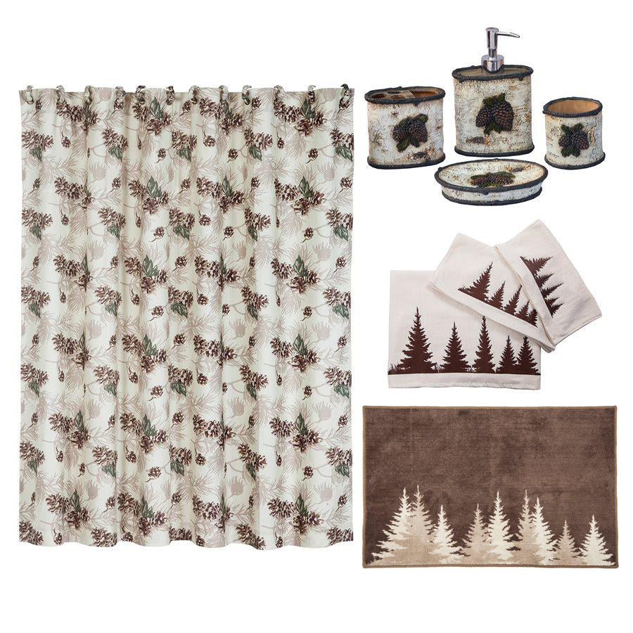 Birch Pinecone 9-PC Bath Accessory and Clearwater Pines Towel Set