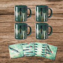 Load image into Gallery viewer, Tossed Feather Bohemian Mug and Tossed Feather or Saguaro Cactus Coaster 8 PCS Set