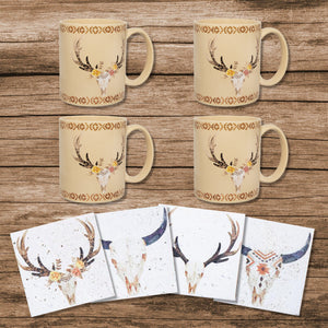Desert Skull or Large Arrow Bohemian Mugs and Coasters 8-PC Collection