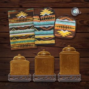 Mesa Southwest Print and Savannah Mustard 22 PCS Canister & Accessory Set
