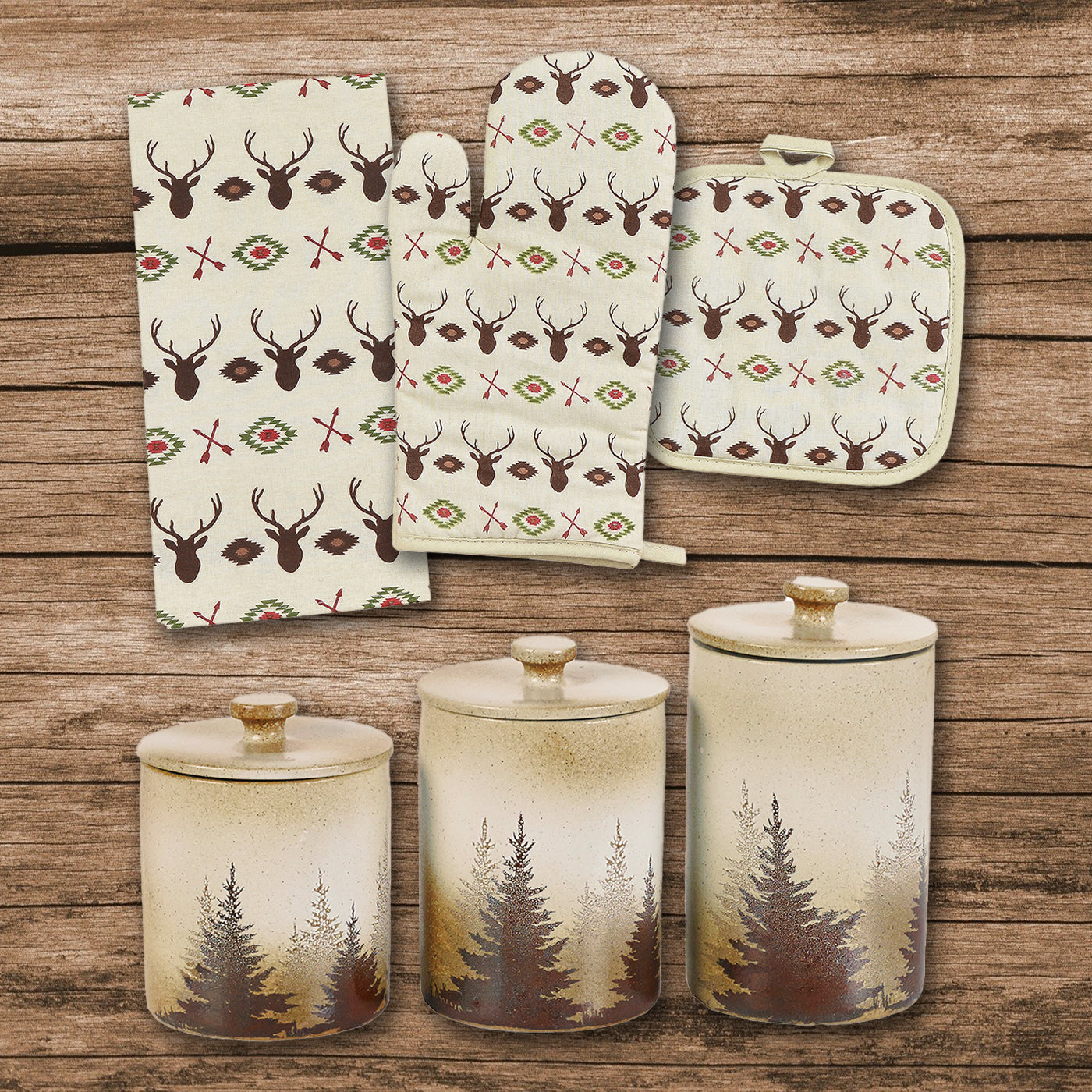 Aztec Multi Deer Print and Clearwater Pines 12 PCS Canister & Accessory Set