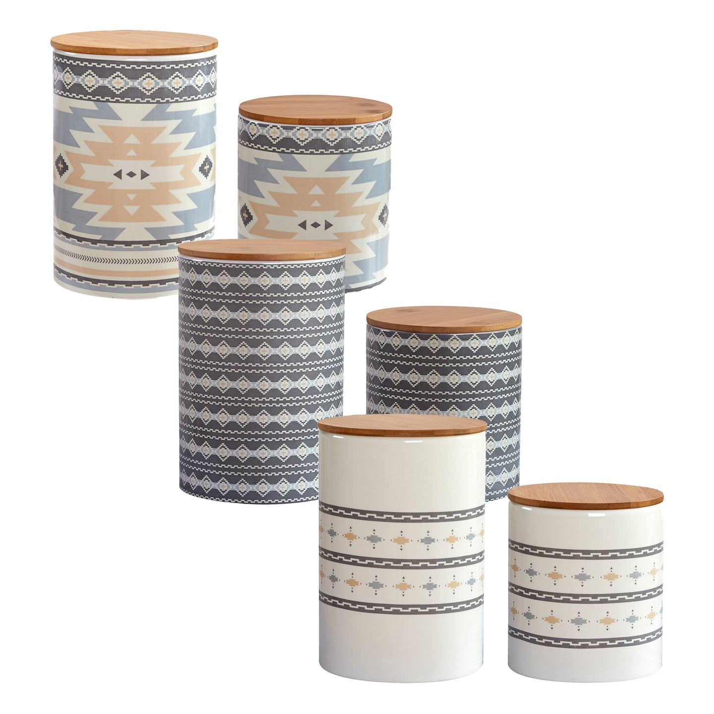 Desert Sage, Large Aztec, and Small Aztec 6 PCS Canister Set