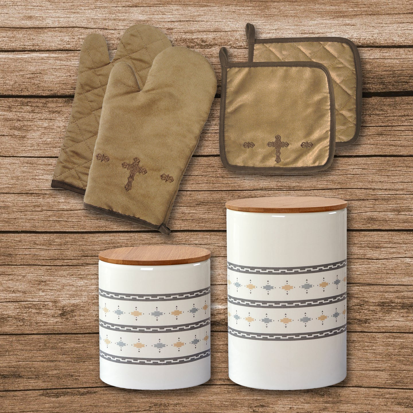 Cross Print and Large Aztec Design 6 PCS Canister & Accessory Set