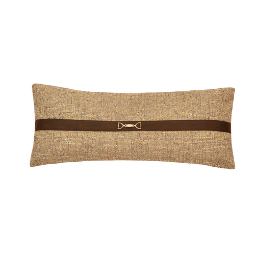 Carter Tweed Lumbar Pillow w/Buckle Details