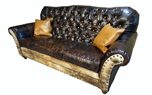 Medina 3 Cushion Tufted Western Cowhide Sofa