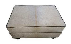 Mountain Modern White Cowhide Ottoman