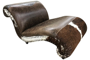 Panhandle Western Cowhide Double Chaise Lounge
