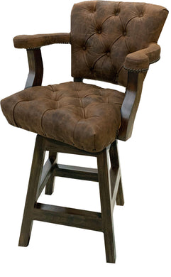 Pecan Axis Tufted Western Barstool