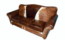 Load image into Gallery viewer, Ranch Foreman 3 Cushion Western Cowhide Sofa