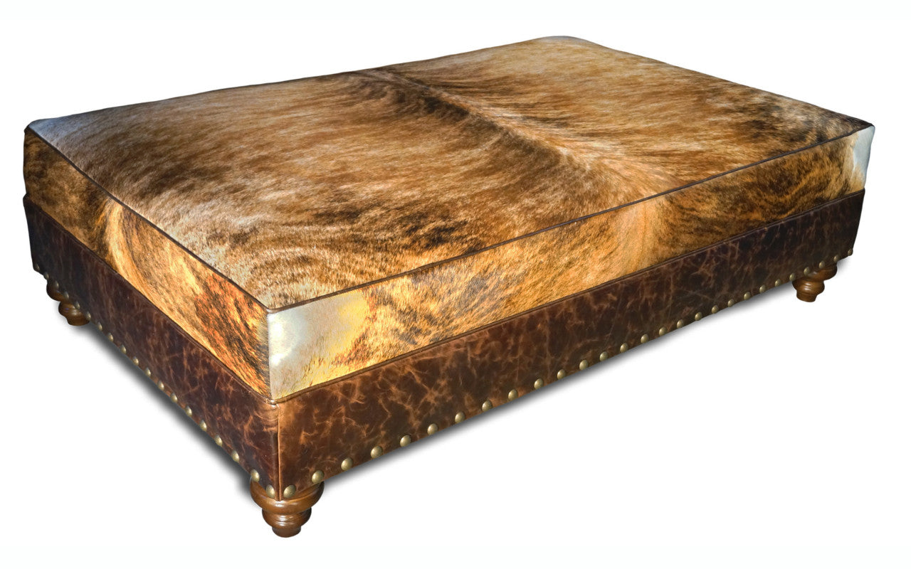 Mesa Rectangle Western Leather Ottoman