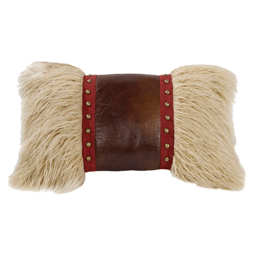 Ruidoso Mongolian Fur Pillow w/Faux Leather & Studs