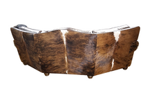 Load image into Gallery viewer, Split Rail Curved Western Cowhide Sofa