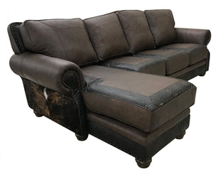 Split Rail Curved Sectional w/Chaise Lounge