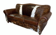 Load image into Gallery viewer, Vaquero 3 Cushion Western Cowhide Sofa