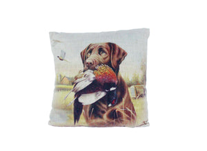 Chocolate Lab with Pheasant Vintage Look Burlap Pillow