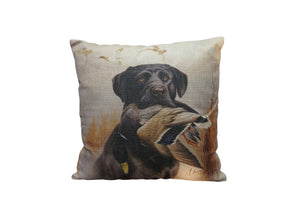 Black Lab with Duck Vintage Look Burlap Pillow