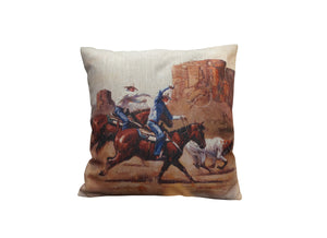 Team Roping White Steer Vintage Look Burlap Pillow