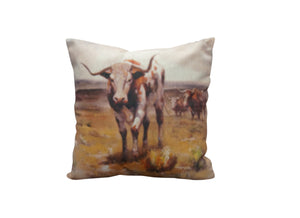 Three Longhorns Vintage Look Burlap Pillow