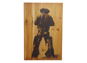 Cowboy Silhouette Distressed Look Wall Panel