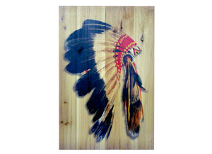 Chief Headdress Distressed Look Wall Panel