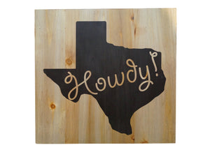 Howdy Texas Distressed Look Wall Panel