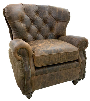 Yellowstone Buffalo Curved Back Tufted Chair