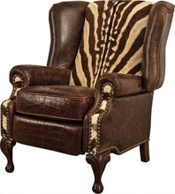 Load image into Gallery viewer, Zebra Wingback Recliner
