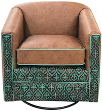 Load image into Gallery viewer, Nuevo Azul Southwestern Leather Swivel Glider
