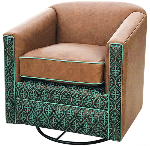 Nuevo Azul Southwestern Leather Swivel Glider