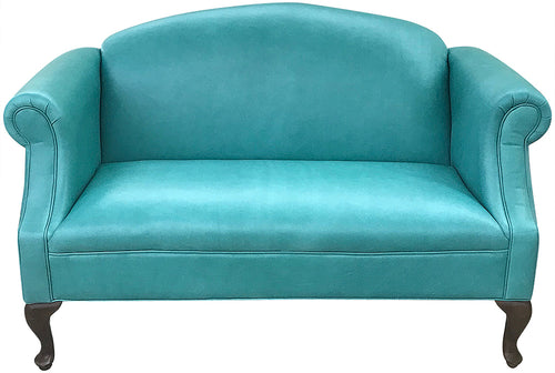 Nuevo Azul Contemporary Leather Settee