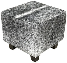"Load image into Gallery viewer, Cowhide 18"" Cube Ottoman - Black & White Speckle"