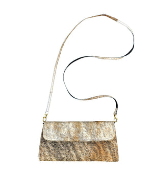 Cowhide Crossbody Clutch - Exotic Brindle