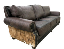 Load image into Gallery viewer, Split Rail 10 Foot 3 Cushion Western Cowhide Sofa