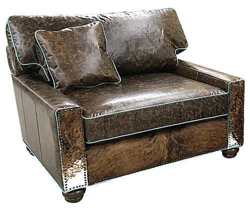 Salado Square Arm Cowhide Chair And 1/2