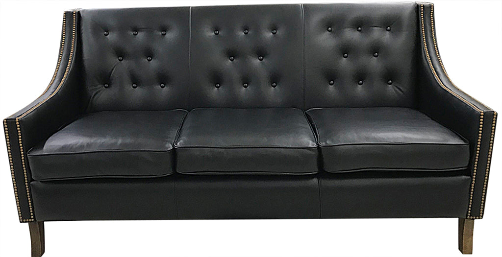 Contemporary Tufted Black Leather Sofa