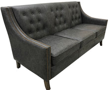 Load image into Gallery viewer, Contemporary Tufted Black Leather Sofa